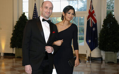 In this Sept. 20, 2019, file photo, President Donald Trump's White House Senior Adviser Stephen Miller, left, and Katie Waldman arrive for a state dinner with Australian Prime Minister Scott Morrison and Trump at the White House in Washington. Trump went from the Daytona 500 on Sunday, Feb. 16, 2020, to attending the wedding of the two top members of his administration, Miller and Waldman, press secretary for Vice President Mike Pence. (AP Photo/Patrick Semansky, File)
