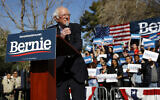 Democratic presidential candidate Sen. Bernie Sanders, Independent-Vermont, speaks during a campaign event at the University of Nevada, Las Vegas, February 18, 2020. (Patrick Semansky/AP)