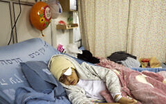 Nine-year-old Palestinian boy Malik Eissa in Hadassa hospital in Jerusalem, February 20, 2020 (AP Photo/Mahmoud Illean)