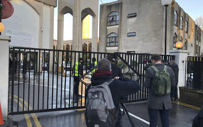 The scene outside London Central Mosque in Regent's Park, where police have arrested a man on suspicion of attempted murder, in London, February 20, 2020 (Marc Ward/PA via AP)