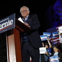 Democratic presidential candidate Sen. Bernie Sanders, I-Vt., gets ready to speak at a campaign event at Springs Preserve in Las Vegas, Friday, Feb. 21, 2020. (AP/Patrick Semansky)