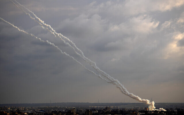 Rockets are launched by Palestinian terrorists in the Gaza Strip toward Israel, February 24, 2020. (AP Photo/Khalil Hamra)