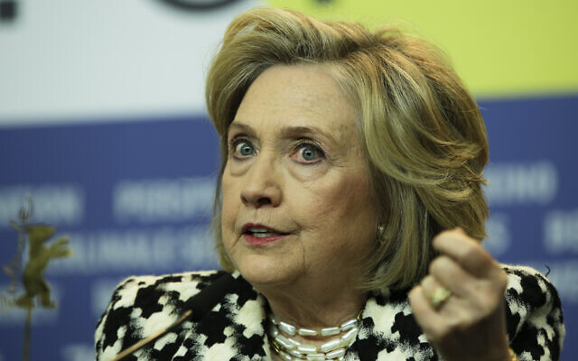 Former US Secretary of State Hillary Clinton attends a news conference for the film 'Hillary' during the 70th International Film Festival Berlin, Berlinale in Berlin, Germany, Tuesday, Feb. 25, 2020. (AP Photo/Markus Schreiber)