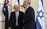 President Reuvin Rivlin, left, and Australia's Prime Minister Scott Morrison meet at Parliament House in Canberra, February 26, 2020. (Mick Tsikas/AAP Image via AP)