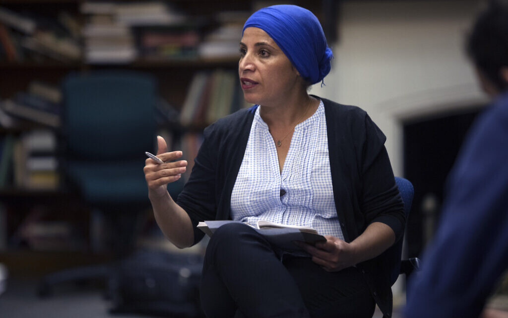 Amal Elsana-Alh'jooj leads an identity workshop with ICAN fellows at McGill University in Montreal, 2018. (Courtesy)