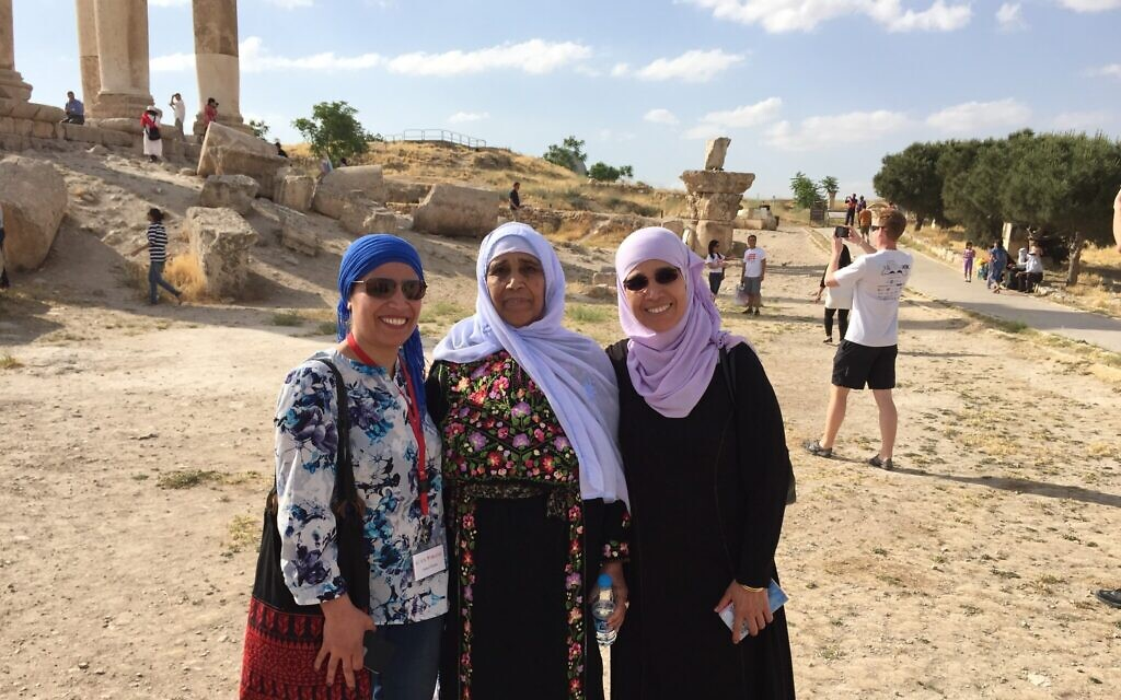Amal Elsana-Alh'jooj, left, with her mother and sister. (Courtesy)
