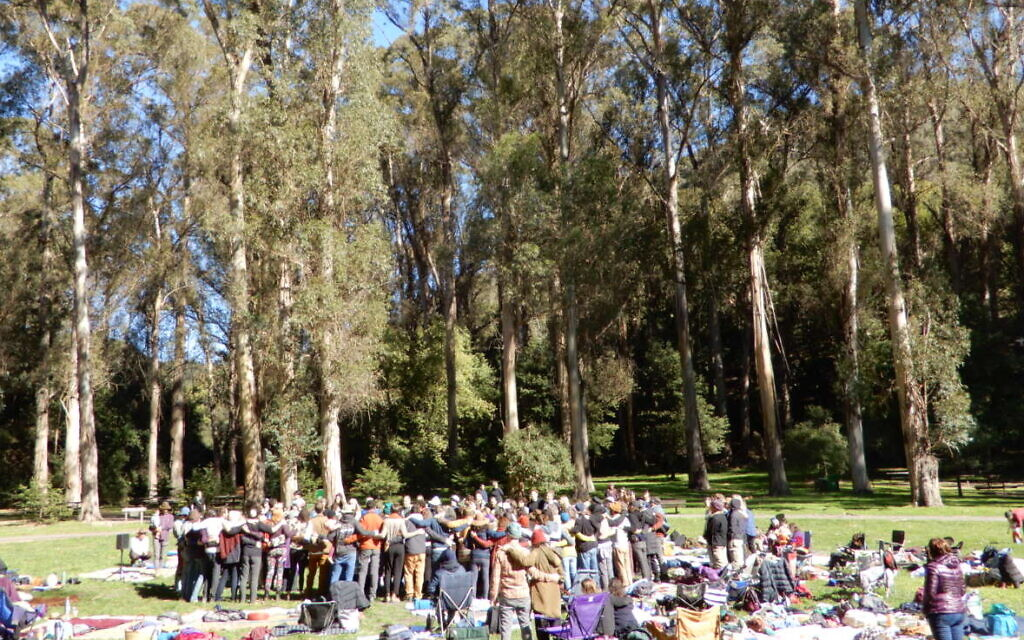 Around 200 people gather in a hug beneath eucalyptus trees to celebrate Tu B'Shvat at a Wilderness Torah/JeWitch Collective event outside of San Francisco on February 9, 2020. (Melanie Lidman/Times of Israel)