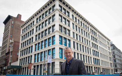 Erel Margalit outside Margalit Startup City/JVP cyber security hub, a joint project with the City of New York, on February 3, 2020. (courtesy/Shahar Azran)