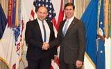 Defense Minister Naftali Bennett, left, meets with US Defense Secretary Mark Esper in Washington, DC, on February 4, 2020. (US Department of Defense)