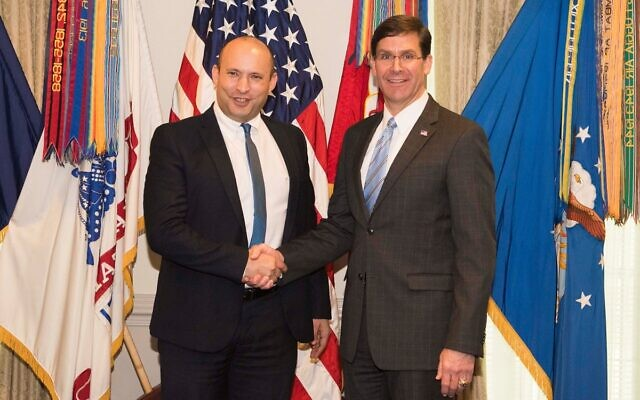 Defense Minister Naftali Bennett, left, meets with US Defense Secretary Mark Esper in Washington, DC, on February 4, 2020. (US Department of Defense)