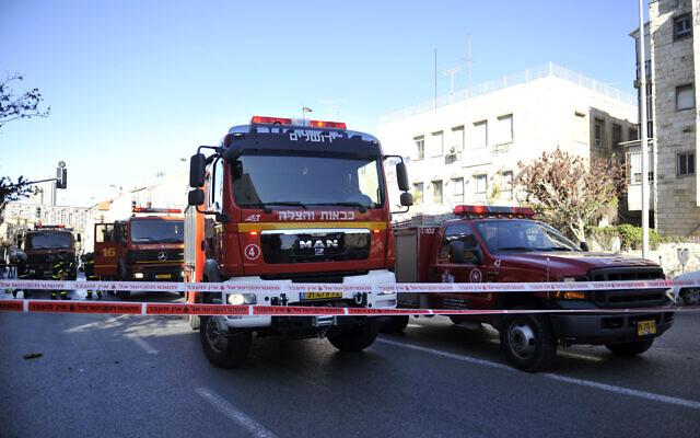 Illustrative: IIsrael Fire and Rescue Services trucks, January 9 2012. (Uri Lenzi/Flash90)