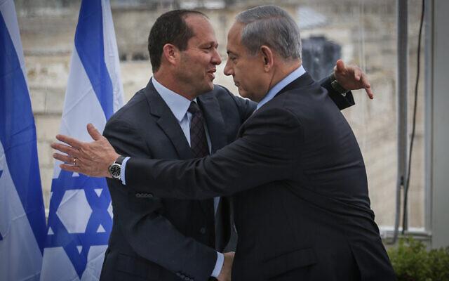 Prime Minister Benjamin Netanyahu and then Jerusalem Mayor Nir Barkat hold a press conference at the Mamila Hotel in Jerusalem on February 23, 2015. (Hadas Parush/Flash90)