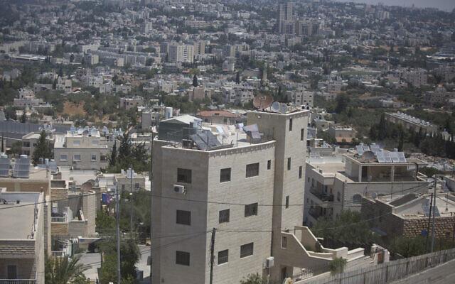 Houses in the Palestinian neighborhood of Beit Safafa next to Givat Hamatos neighborhood of Jerusalem on July 5, 2016 (Lior Mizrahi/Flash90)