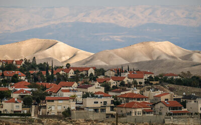 View of the settlement of Ma'ale Adumin, in the West Bank overlooking the E1 area on January 4, 2017. (Yaniv Nadav/Flash90)
