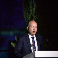 US Special Envoy Jason Greenblatt speaks at a conference of Israel Hayom newspaper at Davidson Center in Jerusalem Old City, June 27, 2019 (Aharon Krohn/Flash90)