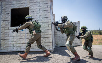 Illustrative. Israeli soldiers from the Lotar counter-terrorism unit take part in a training session in the Adam military base near Modiin on July 22, 2019. (Yonatan Sindel/Flash90)