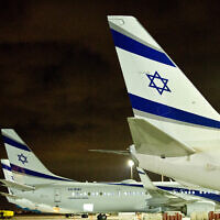 Israeli airline El Al planes parked at Ben Gurion Airport in Lod, Israel, on March 16, 2018. (Moshe Shai/Flash90)