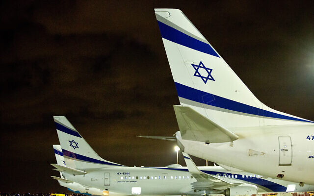 Israeli airline El Al Boeing planes, parked at the Ben Gurion Airport in Lod, Israel, on March 16, 2018. (Moshe Shai/Flash90)