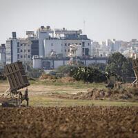 Iron Dome anti-missile batteries installed in the southern Israeli city of Ashkelon, November 12, 2019 (Noam Rivkin Fenton/Flash90)