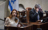 Green Party chairwoman Stav Shaffir speaks in the Knesset in Jerusalem on January 28, 2020. (Hadas Parush/Flash90)