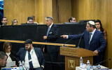 Otzma Yehudit chairman Itamar Ben Gvir speaks during the Central Elections Committee discussion of requests to disqualify Joint List party candidate Heba Yazbak from running in the upcoming Knesset elections on January 29, 2020. (Yonatan Sindel/Flash90)
