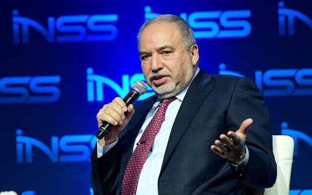 Yisrael Beytenu chairman MK Avigdor Liberman at the Annual International Conference of the Institute for National Security Studies, in Tel Aviv, on January 30, 2020. (Avshalom Sassoni/Flash90)