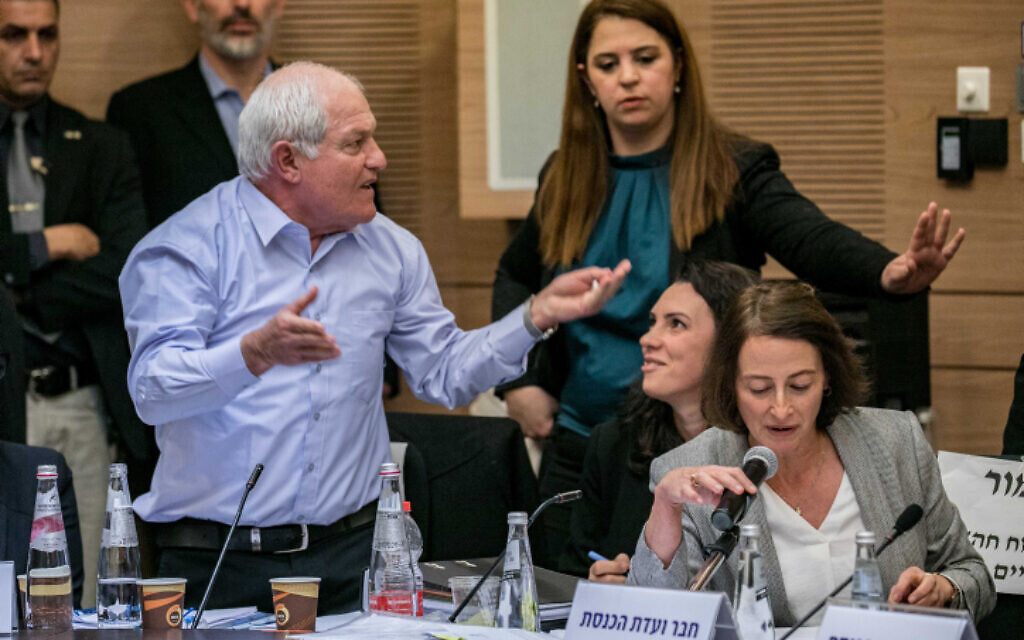 MK Haim Katz attends a House Committee discussion on his request for immunity, at the Knesset on February 4, 2020. (Olivier Fitoussi/Flash90)