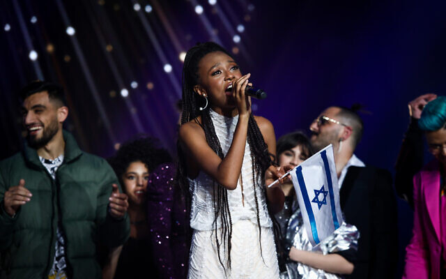 Eden Alene, Israel's 2021 Eurovision representative and winner of the reality show 'The Next Star,' during the final in Neve Ilan studio near Jerusalem on February 4, 2020. (Shlomi Cohen/Flash90)