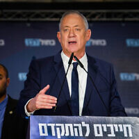 Blue and White party leader MK Benny Gantz speaks during a party campaign event in Netanya on February 5, 2020. (Flash90)