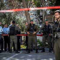 Police at the scene of a stabbing attack near Lions Gate in Jerusalem's Old City. A police officer was light injured, the attackjer was neutralized. February 06, 2020. (Olivier Fitoussi/Flash90)