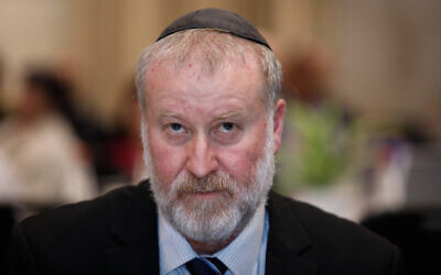 Attorney General Avichai Mandelblit attends an event at the Dan Hotel in Jerusalem on February 6, 2020. (Olivier Fitoussi/Flash90)