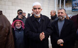 Sheikh Raed Salah, leader of the Northern Branch of the Islamic Movement in Israel, arrives for a court hearing in Haifa on February 10, 2020. (Flash90)