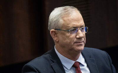 Blue and White party leader MK Benny Gantz seen in the Knesset, in Jerusalem on February 10, 2020. (Yonatan Sindel/Flash90)