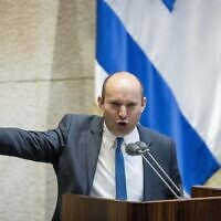 Defense Naftali Bennett during a Knesset debate on recent escalation in Gaza, February 10, 2020. (Yonatan Sindel/Flash90)