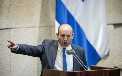 Defense Naftali Bennett during a Knesset debate on recent escalation in Gaza, February 10, 2020. (Yonatan Sindel/Flash90)