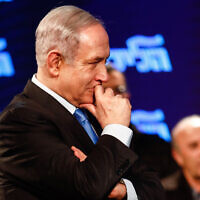 Prime Minister Benjamin Netanyahu, at a Likud party event in Lod, on February 11, 2020. (Flash90)