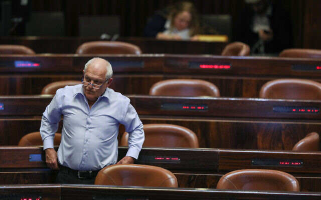 Likud MK Haim Katz during a Knesset plenary session debate on his request for parliamentary immunity from prosecution, February 20, 2020. (Yonatan Sindel/Flash90)