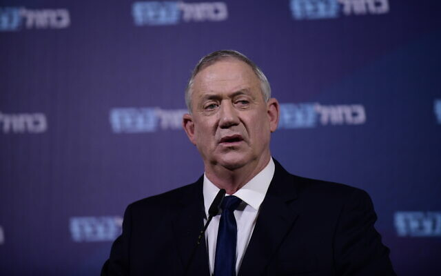 Blue and White chairman Benny Gantz holds a press conference in Ramat Gan on February 19, 2020. (Tomer Neuberg/Flash90)