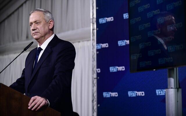 Blue and White party head Benny Gantz holds a press conference at Kfar Hamaccabiya on February 19, 2020. (Tomer Neuberg/Flash90)
