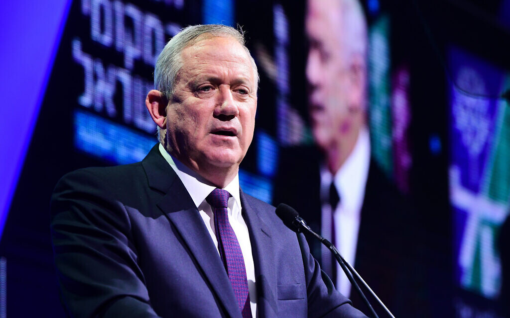 Blue and White party leader Benny Gantz during a conference in Tel Aviv on February February 20, 2020. (Avshalom Sassoni/Flash90)