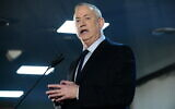 Blue and White chairman Benny Gantz speaks to supporters in Tel Aviv on February 20, 2020. (Tomer Neuberg/Flash90)