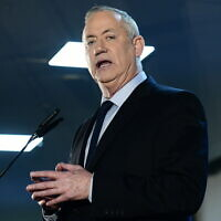 Blue and White chairman Benny Gantz speaks to supporters in Tel Aviv on February 20, 2020. (Tomer Neuberg/Flash90)