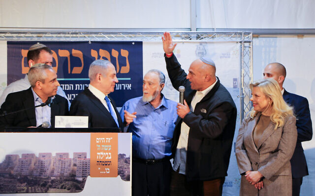 Prime Minister Benjamin Netanyahu during an inauguration ceremony of a new neighborhood in Kiryat Arba, a Jewish settlement outside of Hebron, February 23, 2020. (Gershon Elinson/FLASH90)