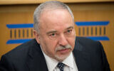 Yisrael Beytenu leader Avigdor Liberman seen at a conference at the Israeli Institute for Democracy, in Jerusalem, on February 24, 2020. (Yonatan Sindel/Flash90)