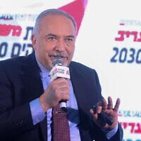 Yisrael Beytenu chairman Avigdor Liberman speaks at the Maariv conference in Herzliya on February 26, 2020. (Miriam Alster/Flash90)