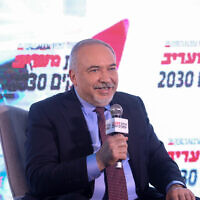 Yisrael Beytenu party leader Avigdor Liberman  speaks at the Maariv conference in Herzliya, on February 26, 2020. (Miriam Alster/Flash90)