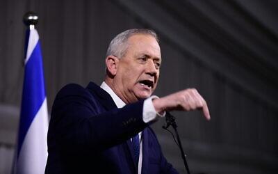 Blue and White party chief Benny Gantz at a press conference at Kfar Hamaccabiya on February 26, 2020. (Tomer Neuberg/Flash90)