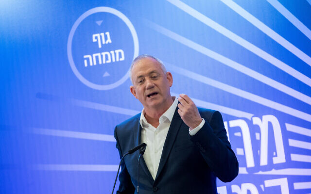 Benny Gantz, head of Blue and White party at a Conference of Heads of Local Authorities, Kiryat Anavim, near Jerusalem on February 26, 2020. (Yonatan Sindel/Flash90)
