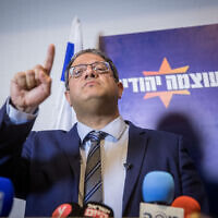 Itamar Ben Gvir, head of the Otzma Yehudit party holds a press conference in Jerusalem on February 26, 2020. (Yonatan Sindel/Flash90)