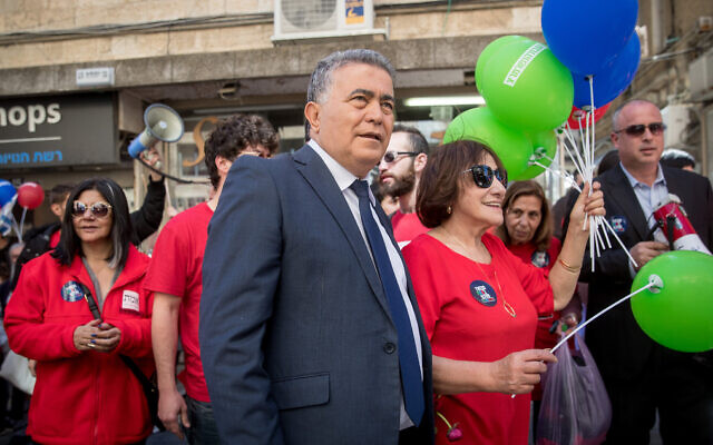 Labour-Gesher-Meretz leader Amir Peretz in Jerusalem on February 28, 2020. (Yonatan Sindel/Flash90)